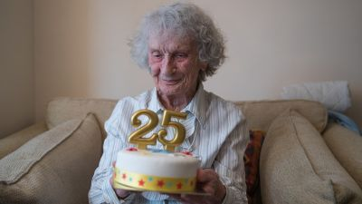 The only pictures of persons who had 25th birthdays at the age of 100 were women who were alive.